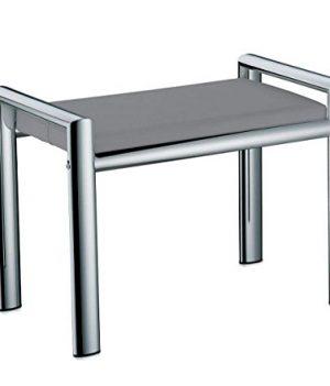Badehocker verchromt | Sitzpolster grau für Badezimmer