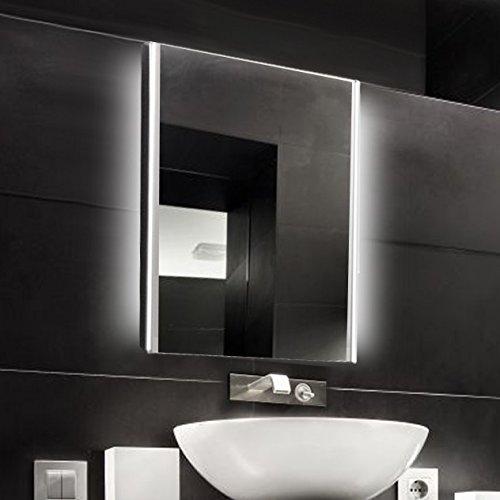 KROLLMANN Badspiegel 50 x 70 cm beleuchtet durch LED-Lichtfelder,  Badezimmer Spiegel mit Beleuchtung [Energieklasse A+]