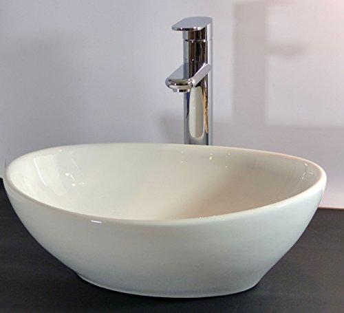 kleines keramik aufsatz waschbecken oval g ste wc 40x32cm. Black Bedroom Furniture Sets. Home Design Ideas
