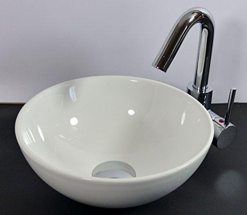 Kleines keramik aufsatz waschbecken rund 28cm g ste bad - Waschbecken kleines bad ...