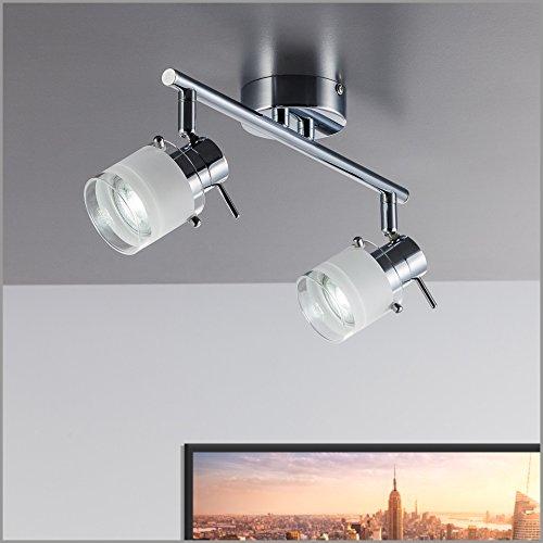 B.K.Licht LED Baddeckenleuchte I 2 flammig I schwenkbar I Chrom I  Deckenleuchte I Badezimmer-Lampe I warm-weiß I 2 x 5 W GU10 I 230V I IP44 I  ...