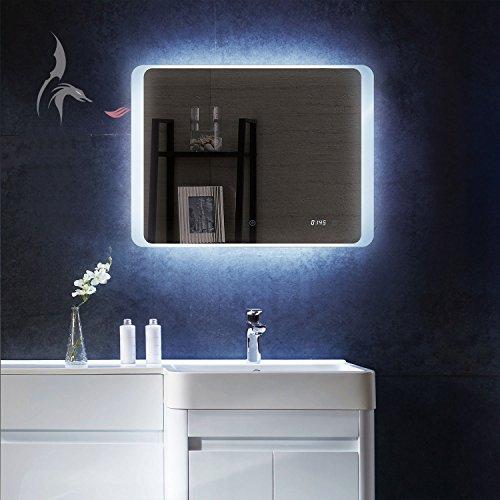 led badezimmer spiegel mit integrierter digital uhr kiel 80x60cm badezimmerspiegel quer rundum. Black Bedroom Furniture Sets. Home Design Ideas