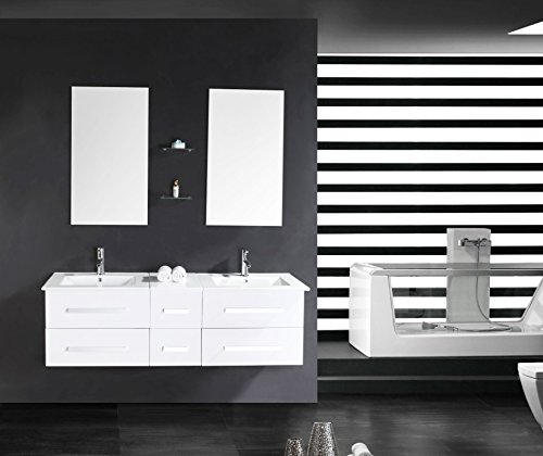 luxus4home design doppel badm bel set serpia dual wei waschtisch set 150cm inkl 2 armaturen. Black Bedroom Furniture Sets. Home Design Ideas