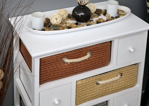 landhaus kommode 74 cm kinderzimmer schrank badregal weiss mit vier k rben und vier schubladen. Black Bedroom Furniture Sets. Home Design Ideas