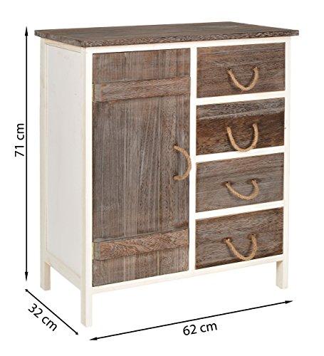 landhaus kommode flur bad schrank bi color regal in zwei farbt nen mit 1 t r und 4 schubladen. Black Bedroom Furniture Sets. Home Design Ideas