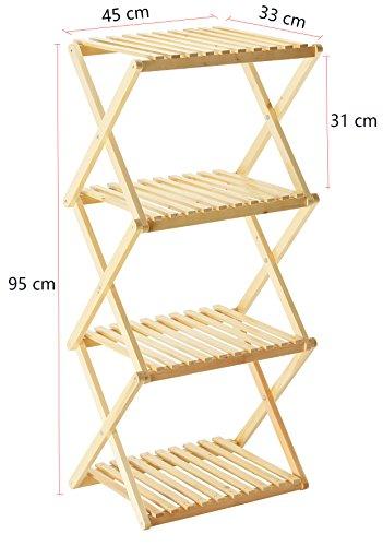 orolay massivholz klappbar standregal display regal mit vier b den. Black Bedroom Furniture Sets. Home Design Ideas