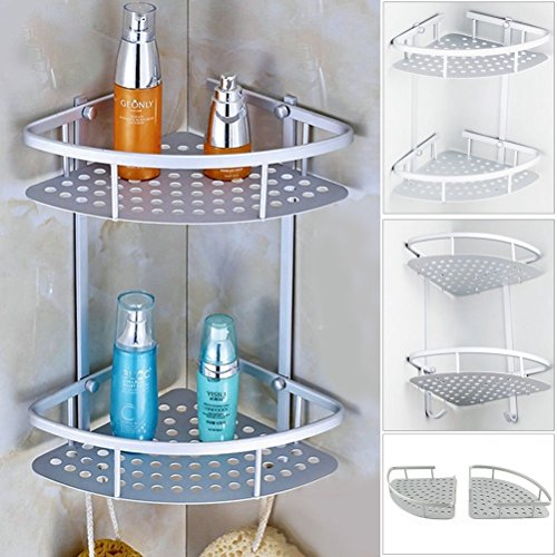 pixnor dusche regal aluminium 2 stufig bad ecke storage rack veranstalter silber. Black Bedroom Furniture Sets. Home Design Ideas