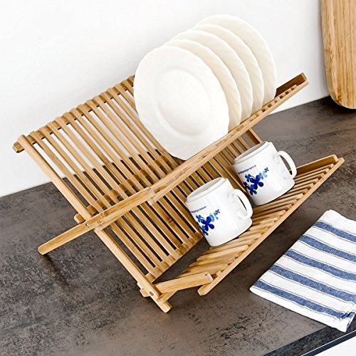 relaxdays abtropfgestell cross hbt 23 x 42 x 36 cm abtropfgitter bambus klappbar. Black Bedroom Furniture Sets. Home Design Ideas