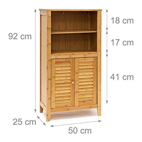 Relaxdays badezimmerschrank lamell aus bambus hxbxt ca 92 x 50 x 25 cm badschrank mit t ren in - Badezimmerschrank holz ...