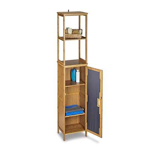 Relaxdays Badregal Bambus HBT 170 x 33,5 x 28 cm Badschrank mit 6  Ablageflächen mit praktischen Stauraum für Badeaccessoires als Standregal  mit ...