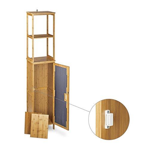 relaxdays badregal bambus hbt 170 x 33 5 x 28 cm badschrank mit 6 ablagefl chen mit praktischen. Black Bedroom Furniture Sets. Home Design Ideas