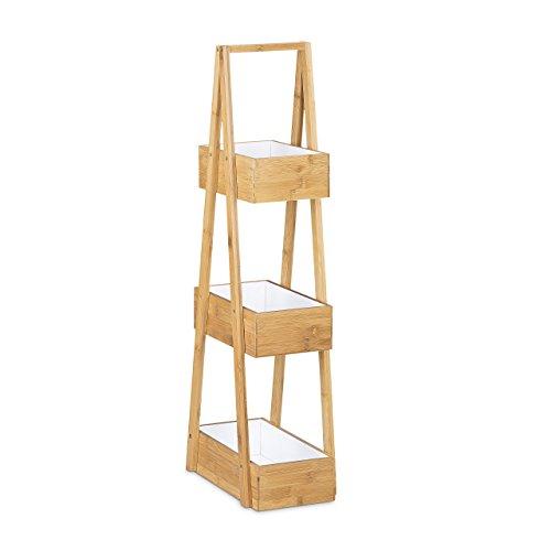 Relaxdays Bambus Badregal H x B x T: 82 x 30 x 18 cm 3 Praktisches  Badezimmerregal als 3 Ablageständer mit 3 Körben als Bambus Butler aus ...