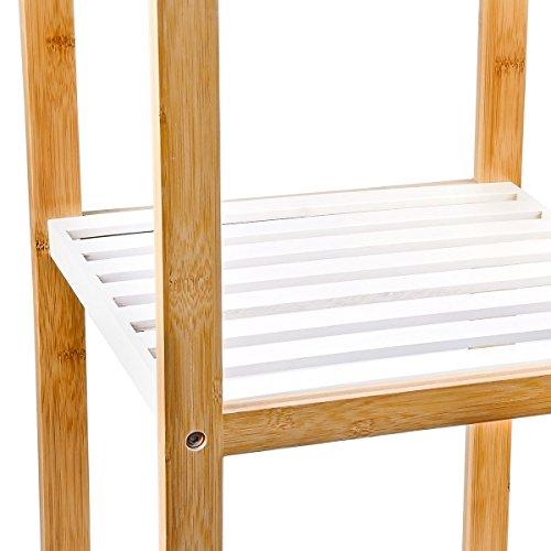 Relaxdays Bambus Regal mit 4 Fächern HBT: 110 x 33 x 34 cm Schickes  Badregal mit 4 Ablagen aus natürlichem Holz Standregal als Küchenregal oder  ...