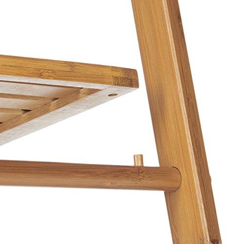 relaxdays handtuchhalter bambus faltbar kleiner kleiderst nder 3 ablagen 3 handtuchstangen. Black Bedroom Furniture Sets. Home Design Ideas