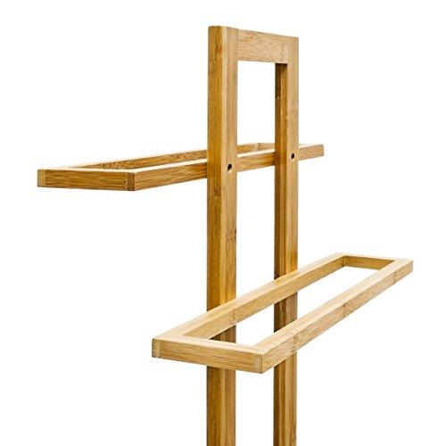 relaxdays handtuchst nder bambus mit 2 handtuchstangen hbt 85 x 37 x 25 cm frei stehender. Black Bedroom Furniture Sets. Home Design Ideas
