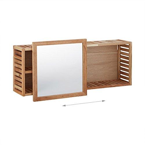 Relaxdays wandregal mit spiegel walnuss verschiebbarer for Spiegel 20 cm breit