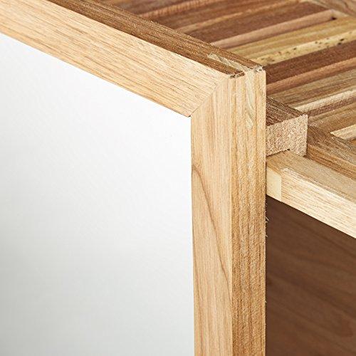 relaxdays wandregal mit spiegel walnuss verschiebbarer. Black Bedroom Furniture Sets. Home Design Ideas