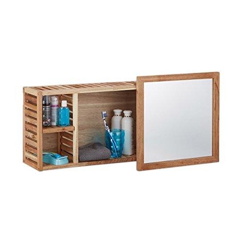 80 cm holz Spiegelschrank | Badezimmer Spiegelschrank  Walnuss mit verschiebbarer Spiegel