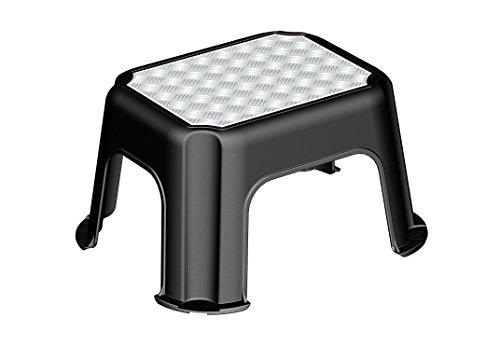 rotho trittschemel paso tritthocker aus kunststoff mit metallveredelung mit anti rutsch noppen. Black Bedroom Furniture Sets. Home Design Ideas