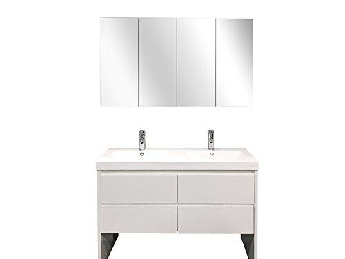 120cm badset | Badmöbelset |  Doppeltwaschtisch mit Spiegelschrank