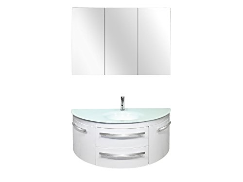 Badset | Badmöbelset | Badezimmerset. | Designer Badset. | abgerundeter waschplatz mit Spiegelschrank