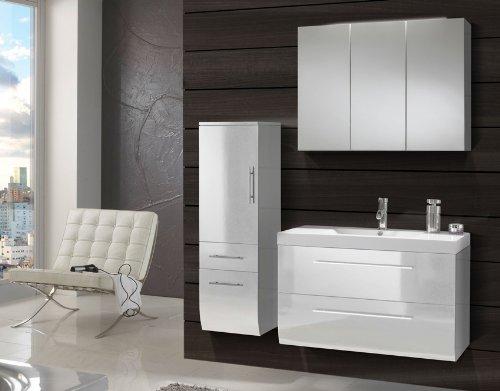 SAM® Design Badmöbel Set Zürich 3 teilig in weiß Exklusives Designer  Badezimmer Set komplett Hochglanz weiß lackiert bestehend aus Waschplatz ...