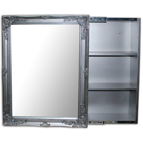 Spiegelschrank xenia badezimmer schrank silber barock - Schiebetur spiegel ...