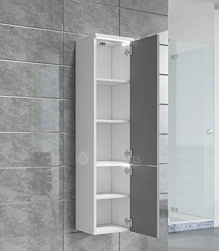 schrank toledo 132 cm h he grau hochglanz schrank hochschrank badezimmer m bel. Black Bedroom Furniture Sets. Home Design Ideas