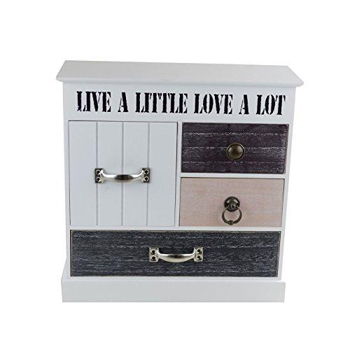 schrank mit 4 schubladen 32x31x13cm holz vintage schr nkchen deko schrank kommode. Black Bedroom Furniture Sets. Home Design Ideas