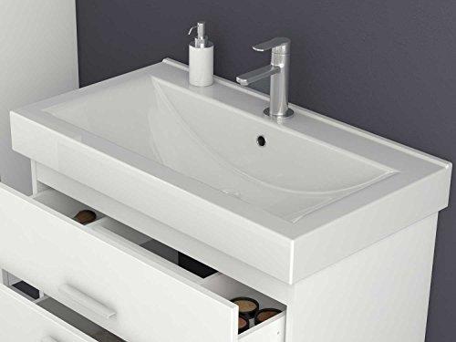 Jokey Badmöbel-Set Girona - 80 cm breit - Hochglanz Weiß Badezimmermöbel  Waschtisch mit Unterschrank Spiegel mit Beleuchtung und Hochschrank Sieper