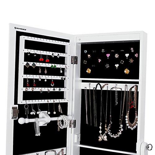 songmics schmuckschrank spiegelschrank abschlie bar mit led beleuchtung 154 cm hoch jbc94w. Black Bedroom Furniture Sets. Home Design Ideas