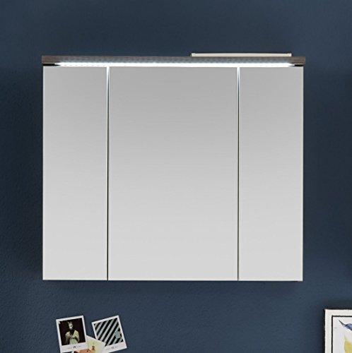 Spiegelschrank Ulme/ Weiss Mit LED Beleuchtung