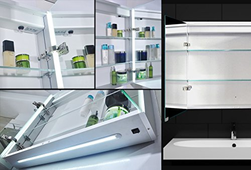 top design spiegelschrank mit aluminiumkorpus led beleuchtung. Black Bedroom Furniture Sets. Home Design Ideas