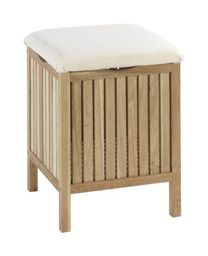 Wenko Badhocker Norway mit Wäschesammler, aufklappbare Sitzfläche als Deckel, Walnussholz, Fassungsvermögen 65 L, 39 x…