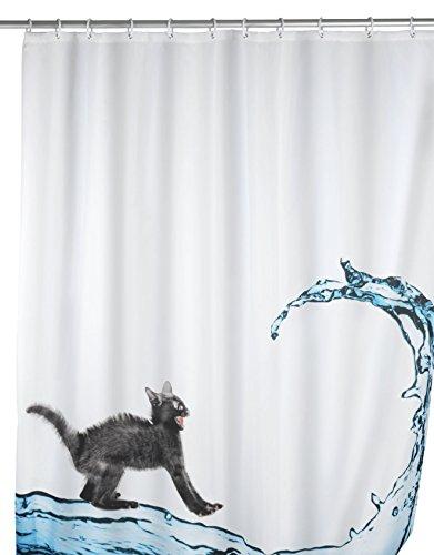 Duschvorhang mit Katze Motiv | Bad Accessoires Duschvorhang  | Anti-Schimmel duschvorhang