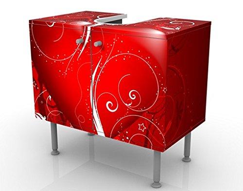 badmobel rot, waschbeckenunterschrank floral heart 60x55x35cm liebe herz schnörkel, Design ideen