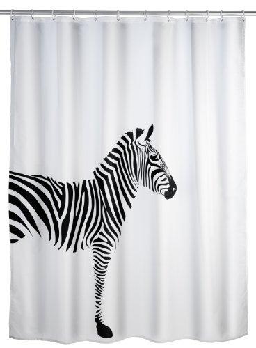 Anti- Schimmel Duschvorhang | Kunststoff Duschvorhang | Duschvorhang mit Zebra | Bad Accessoires Duschvorhang | Duschvorhang