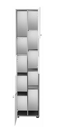 trendteam TT10103 Badezimmerhochschrank weiss Hochglanz, graphit  Nachbildung, BxHxT 40x182x30 cm