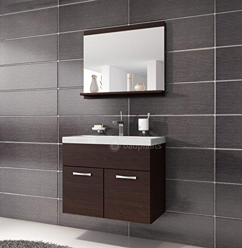 Badezimmer Badmöbel Montreal 02 60cm Waschbecken Wenge - Unterschrank  Waschtisch Spiegel Möbel