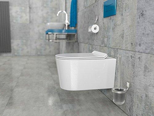 Design Keramik Wand-Hänge-WC Toilette Toilettenschüssel Tiefspüler  wandhängend inkl. WC Sitz aus Duroplast mit Absenkatomatik KB-AN0513