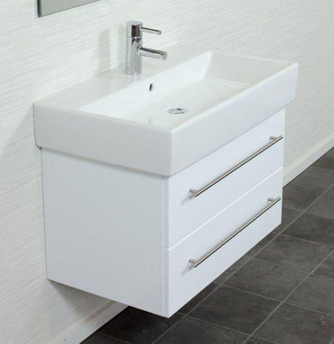emotion memento80cm000101de waschbecken mit unterschrank holz wei hochglanz 80 x 45 x 47 cm. Black Bedroom Furniture Sets. Home Design Ideas