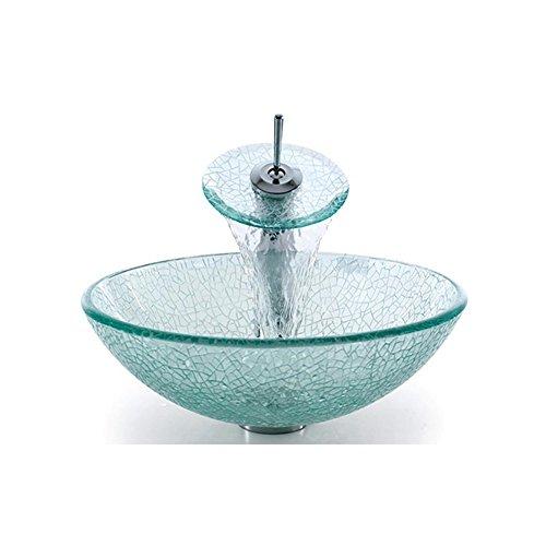 Waschbecken rund glas  Homelavafans Modern Glas Rund Waschbecken mit Wasserablauf und ...