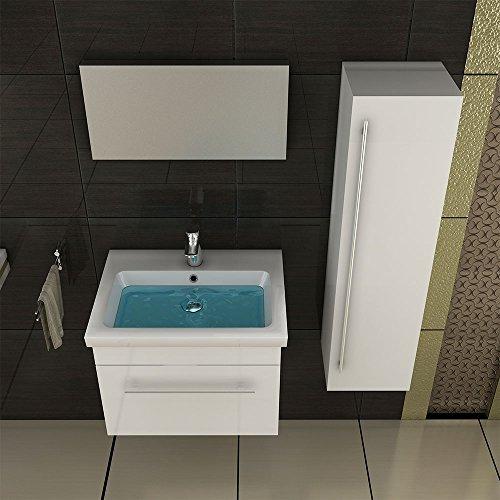 keramik waschbecken mit nanobeschichtung unterschrank weiss badm bel waschbeckenunterschrank. Black Bedroom Furniture Sets. Home Design Ideas