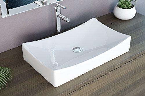 neg waschbecken uno92a eckig aufsatz waschschale waschtisch mit geschwungenem rand und nano. Black Bedroom Furniture Sets. Home Design Ideas