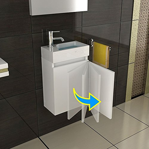 waschbecken und unterschrank badezimmer set unterschrank mit soft close farbe weiss. Black Bedroom Furniture Sets. Home Design Ideas