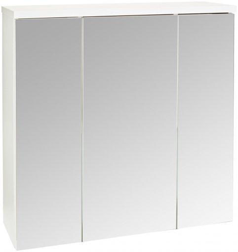 Badezimmer Spiegelschrank  |  75x73x22 cm Spiegelschrank | weißer spiegelschrank | 3-türiger Spiegelschrank