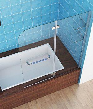 Duschtrennwand | 100x120x140 cm Faltwand | Badewanne Duschabrennung | Badewannenfaltwand