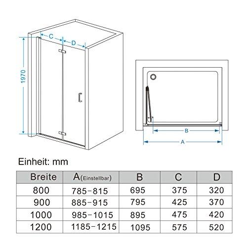 75 120 x 195 cm nischent r duschabtrennung faltt r. Black Bedroom Furniture Sets. Home Design Ideas