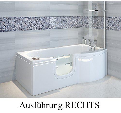badewanne mit t r seniorenbadewanne 167 5x85 75x53cm mit duschkabine wannensch rze und ablauf. Black Bedroom Furniture Sets. Home Design Ideas