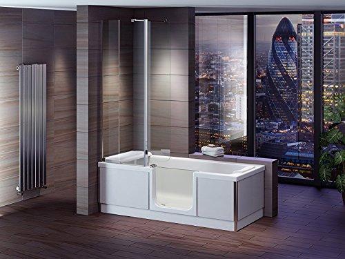 badewanne mit t r seniorenbadewanne 180x80x57 5cm mit duschkabine wannensch rze und ablauf. Black Bedroom Furniture Sets. Home Design Ideas